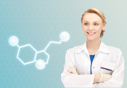 healthcare, medicine and technology concept - smiling female doctor with molecule of serotonin over blue background
